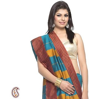 Beautiful Checkered Border Metallic Sea Weed Art Silk Saree
