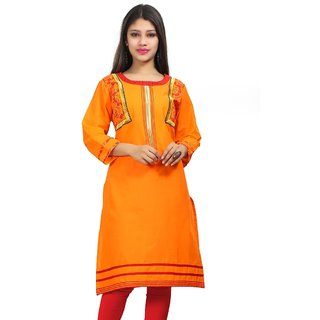 VALAS Womens Cotton Embroidered Orange Long Kurti