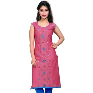 VALAS Womens Cotton Embroidered Blush Red Long Kurti