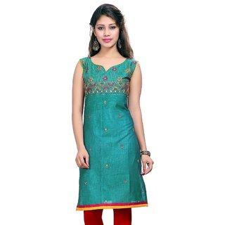 VALAS Womens Cotton Embroidered Ocean Blue Long Kurti