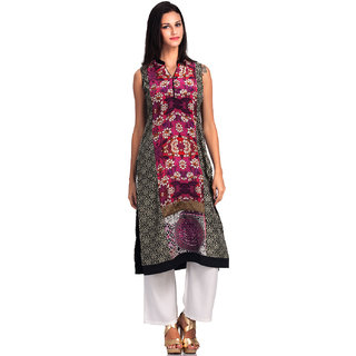 Basil Leaf Multi Color Crepe Floral Printed straight Kurti For Women