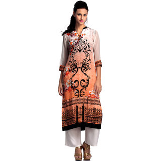 Basil Leaf Straight Off White Crepe Floral Printed Kurti For Women