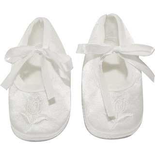 Wonderkids Lotus Print Baby Booties  White 0 - 3 Months