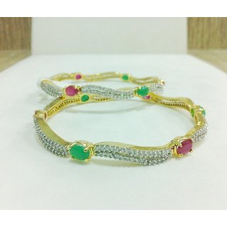 PRECIOUS EMERALD AND RUBY FUSION WITH CZ IN DESIGNER SILVER BANGLE PAIR