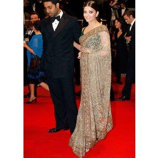 Aishwarya Rai  Beige Net Bollywood Saree