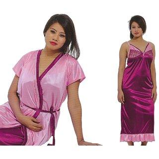 Pink Premium Quality 2 Pc Set Nighty Gown Overcoat Robe Satin Bridal Sleepwear