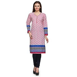 Prafful Pink Cotton Blend Floral Printed Straight Kurti (GS101163)