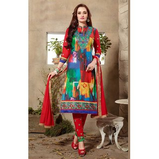 Vastrani Blue and Red Cotton Embroidered Party Wear Dress Material 373D3099