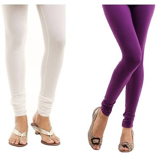 Stylobby White And Purple Cotton Lycra (Pack Of 2 Leggings)