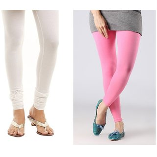 Stylobby White And Baby Pink Cotton Lycra (Pack Of 2 Leggings)