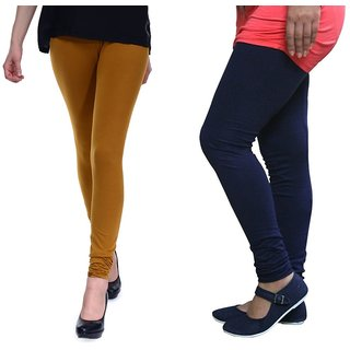 Stylobby Mustard And Navy Blue Cotton Lycra (Pack Of 2 Leggings)