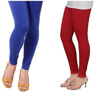 Stylobby Blue And Red Cotton Lycra (Pack Of 2 Leggings)