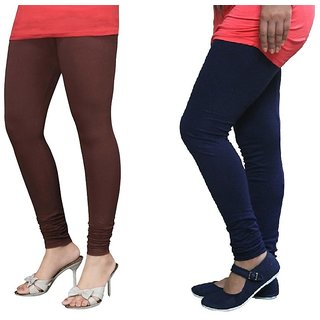 Stylobby Brown And Navy Blue Cotton Lycra (Pack Of 2 Leggings)