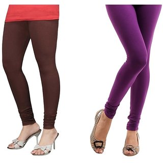 Stylobby Brown And Purple Cotton Lycra (Pack Of 2 Leggings)