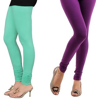 Stylobby Green And Purple Cotton Lycra (Pack Of 2 Leggings)