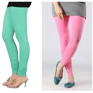 Stylobby Green And Baby Pink Cotton Lycra (Pack Of 2 Leggings)
