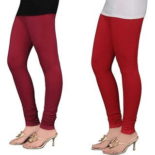 Stylobby Maroon And Red Cotton Lycra (Pack Of 2 Leggings)