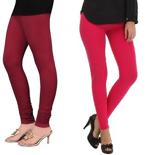 Stylobby Maroon And Hot Pink Cotton Lycra (Pack Of 2 Leggings)