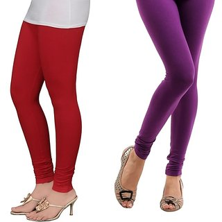 Stylobby Red And Purple Cotton Lycra (Pack Of 2 Leggings)