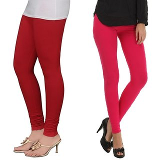 Stylobby Red And Hot Pink Cotton Lycra (Pack Of 2 Leggings)