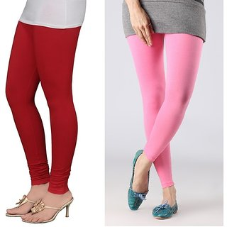 Stylobby Red And Baby Pink Cotton Lycra (Pack Of 2 Leggings)