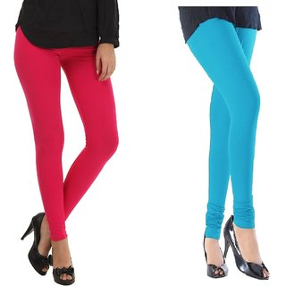 Stylobby Hot Pink And Sky Blue Cotton Lycra (Pack Of 2 Leggings)
