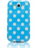 Rka Polka Dot Soft Tpu Gel Case Cover For Samsung Galaxy Grand I9082 Blue With White Dots