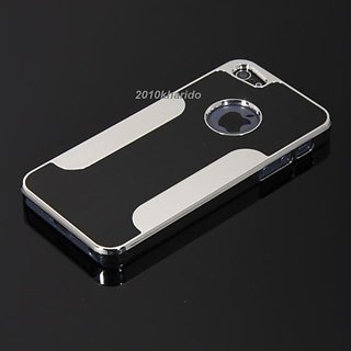 Rka Luxury Steel Aluminum With Design W/Chrome Snapon Hard Cover Case For Iphone 5 5S 5G Black