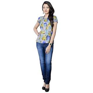 Kanva Mutlicoloured Floral Printed Ladies Top