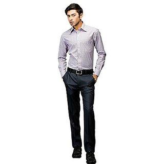 Kanva White And Purple Checked Shirt