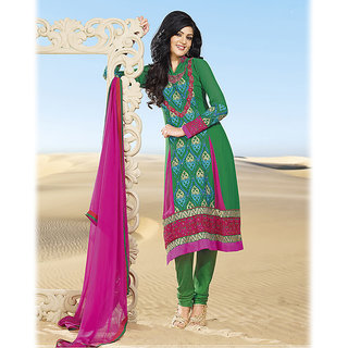 Embroidered Green A-Line Suit