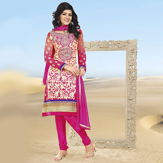 Embroidered Magenta A-Line Suit