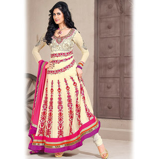 Cream Anarkali Salwar Kameez Suit