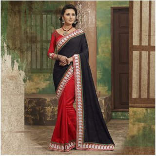 Red and Black Designer Party wear Saree