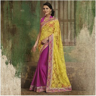 Yellow and Magenta Designer Party wear Saree