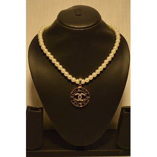 RF Channel CC Simulated Pearl Chain Pendant Statement Necklace Jewellry 34865d5dc699