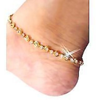 72f7e904dc868 New Fancy Design anklet (payal) in golden color with white stone