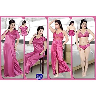 dea5ac51d00b Womens Sleepwear 6pc Bra Panty Top Pajama Nighty Over Coat Daily Night Dress  2064C Pink Sleep