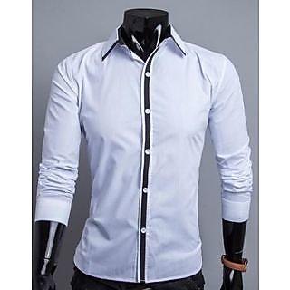 Aamnas White Cotton Casual Designing Shirt