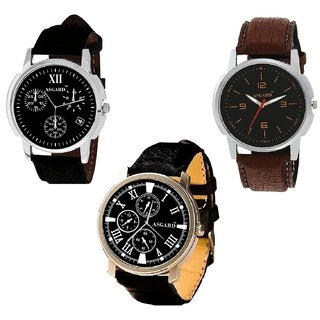 Asgard Black Dial Watches for Men -Set of 3