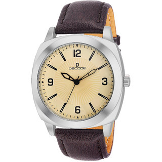 Decode (DC-GR085-WHBRW) Round Dial Brown Leather Strap Quartz Watch for Men