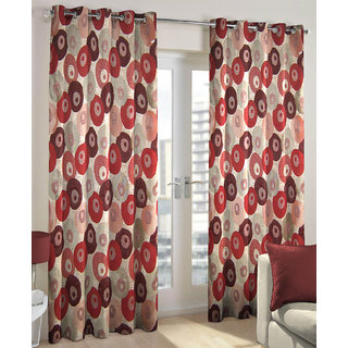 Just Linen Maroon Polyester Jacquard Door Eyelet Curtain
