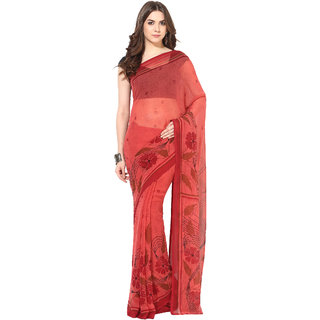 Fostelo Red Chiffon Printed Saree With Blouse