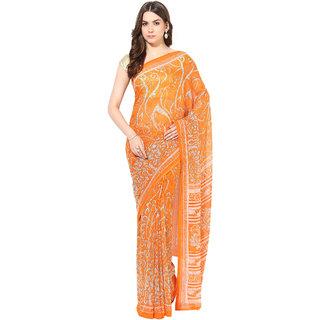 Fostelo Orange Chiffon Printed Saree With Blouse