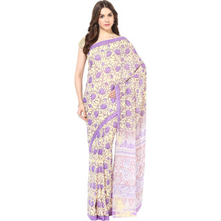 Fostelo Purple Chiffon Printed Saree With Blouse