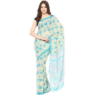 Fostelo Green Chiffon Printed Saree With Blouse