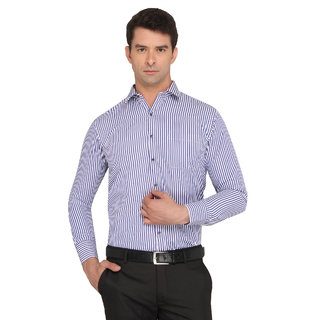Donear Nxg White/Navy Color Poly Cotton Formal Shirt
