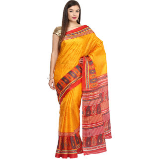 Fostelo Yellow Chiffon, Silk Printed Saree With Blouse