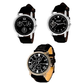 Asgard Black Dial Watch for Men -Set of 3