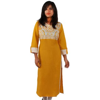 ONLYKurtis Yellow Rayon Kurti With Contrasting Bust And Embroidered Neckline
